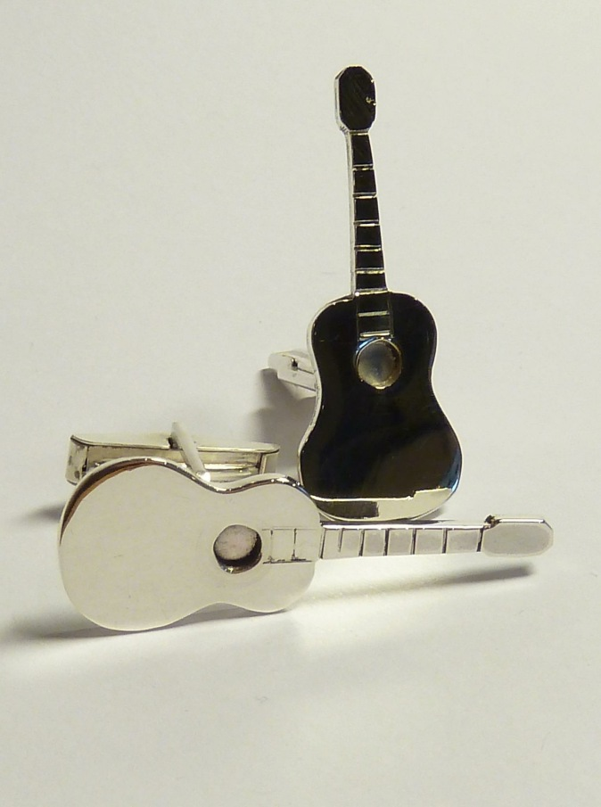 Classical guitar cufflinks.