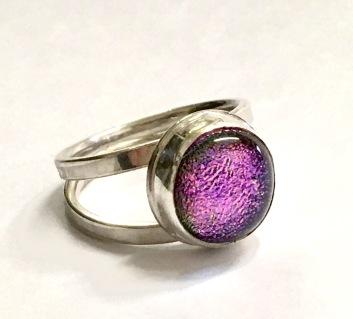 Purple glitter glass ring.